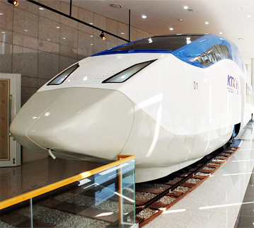 This is a picture of the KTX Tongil train in Tongilmiraecheheomgwan